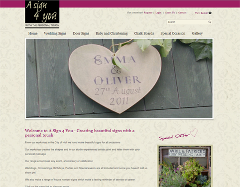 A Sign 4 You Ecommerce Website Design by Weborchard, Hull, Yorkshire