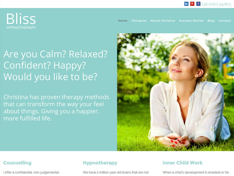 Website Deisgn Hull Beverley East Yorkshire by Weborchard - Bliss Hypnotherapy Responsive Website Design