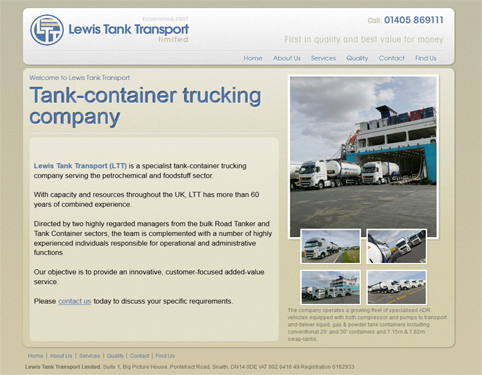 Lewis Tank Transport Website Design Hull by Weborchard
