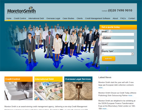 Moreton Smith Worldwide Debt Collection Website Design by Weborchard, Hull, Yorkshire