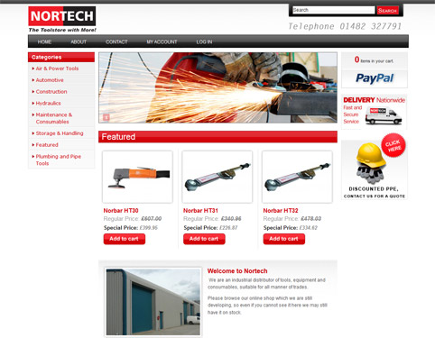 Nortech - Ecommerce Website Design by Weborchard, Hull, Yorkshire