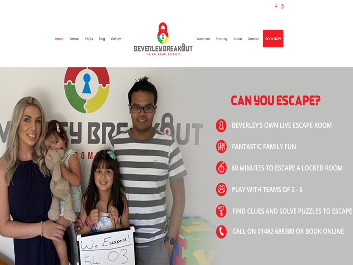 Website Design Beverley, Website Design Hull by Weborchard for Beverley Breakout Escape Rooms
