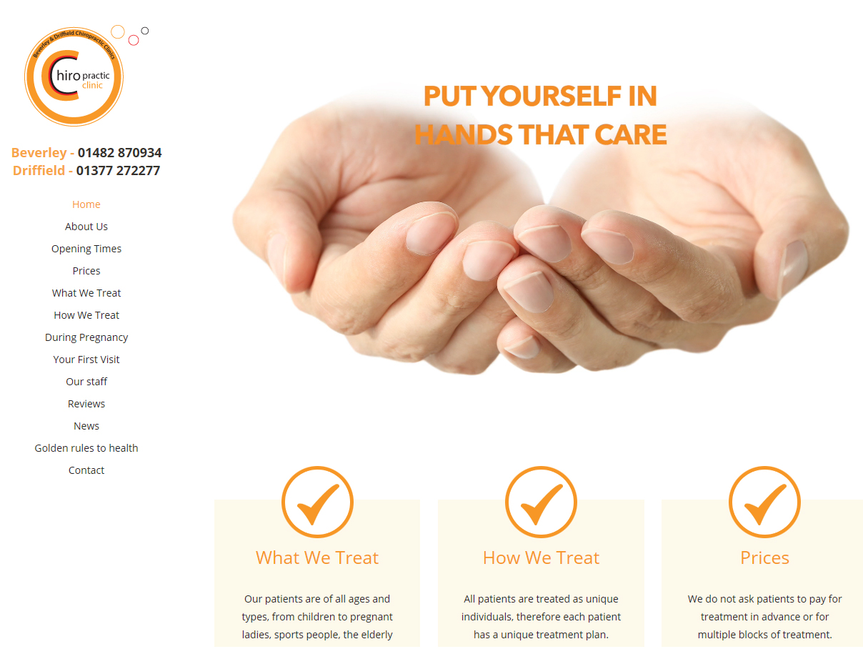Beverley and Driffield Chiropractic Clinic Website Design by Weborchard Beverley