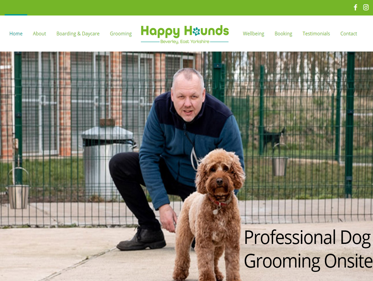 Happy Hounds Beverley Website Design by Weborchard, Website Design Hull, Dog Boarding Beverley, East Yorkshire
