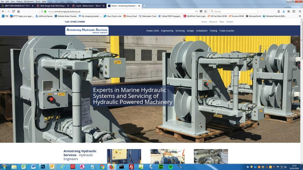 Website Design Hull by Weborchard for Armstrong Hydraulic - Website Design Beverley