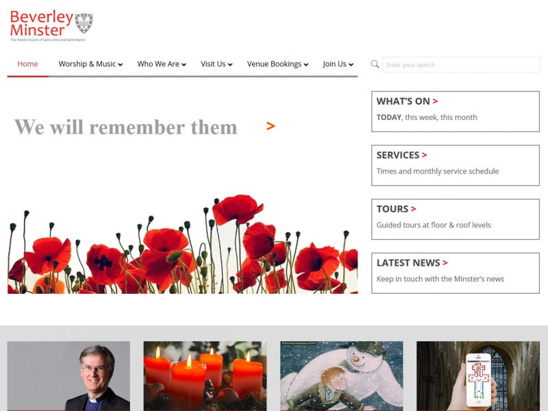 Beverley Minster Website Design by Weborchard - Web Design in Hull and Beverley