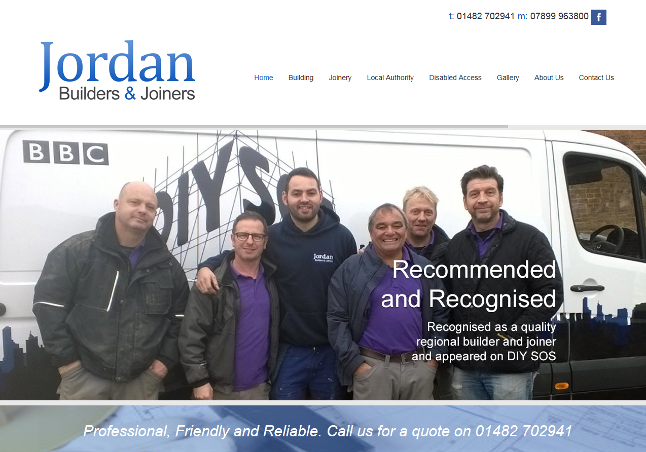 Website Design Hull, Responsive Web Design Hull, Yorkshire by Weborchard - Jordan Builders and Joiners website