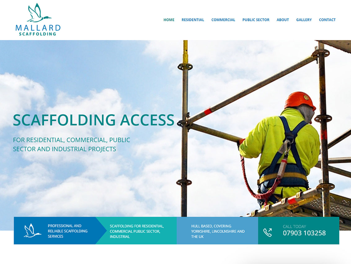 Responsive Website Design Beverley by Weborchard for Mallard Scaffolding Hull