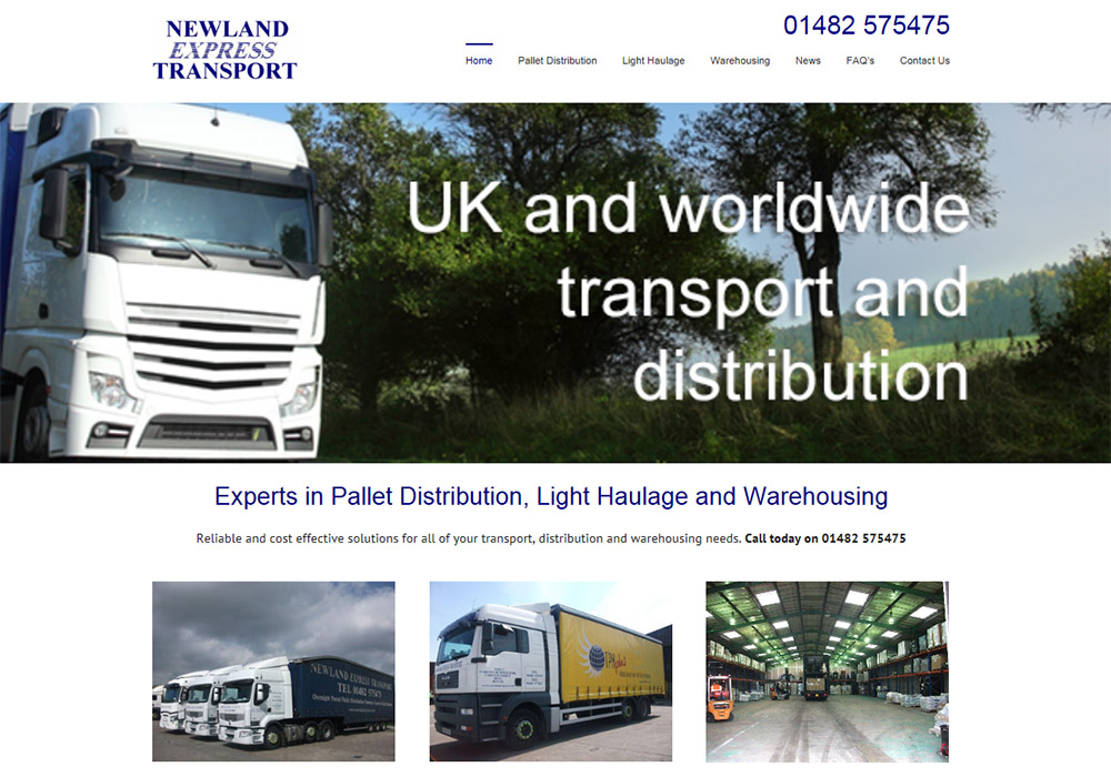 Website Design Hull, Newland Express Transport website by Weborchard, Yorkshire