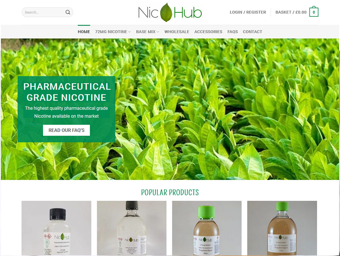 Responsive Ecommerce Website Design Beverley by Weborchard for Nicotine Hub Hull