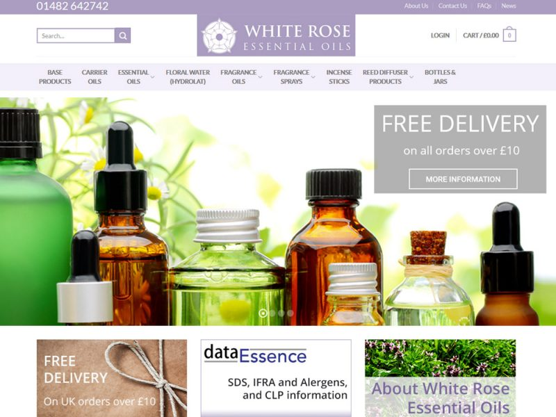 White Rose Essential Oils Ecommerce Web Design by Weborchard Beverley Hull East Yorkshire